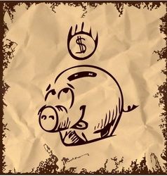 Money pig icon isolated on vintage background vector image