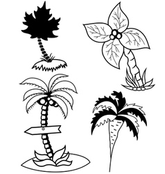 Palm trees set vector image vector image