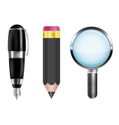 Pencil fountain pen magnifying glass vector