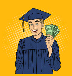 Pop art happy graduated student with money vector