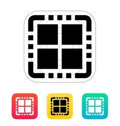 Quad core cpu icon vector