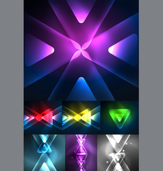 set of abstract backgrounds - glowing neon color vector image