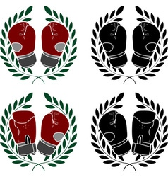 set of boxer gloves stencils vector image vector image
