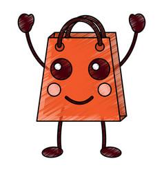 Shopping bag character kawaii style vector
