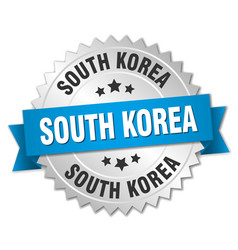 South korea round silver badge with blue ribbon vector