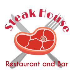 steak house logo label fork meat flat vector image vector image