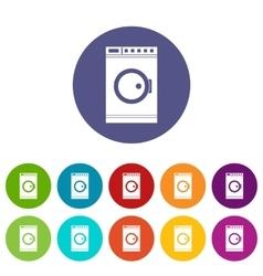 Washing machine set icons vector