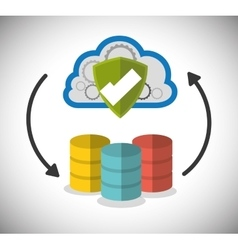 Web hosting shield cloud design vector