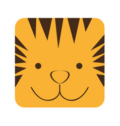 Yellow square tiger animal face expression vector