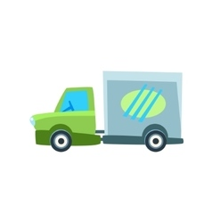 Small delivery truck toy cute car icon vector