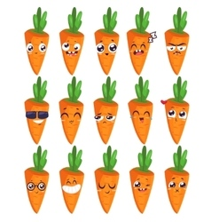 Smiles set of fruit characters cute vector
