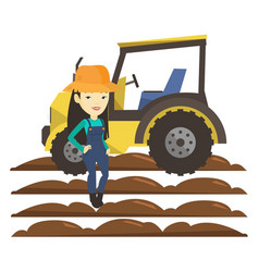 Farmer standing with tractor on background vector