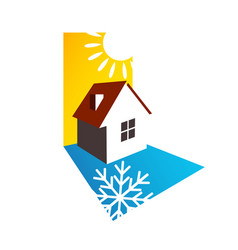 house sun and snowflake design vector image