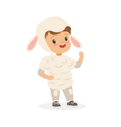 Cute little boy dressed as a white lamb kids vector