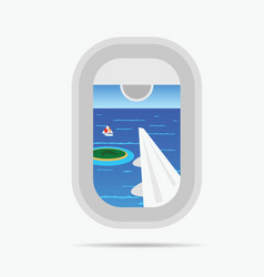 View through airplane window on the paradise sea vector
