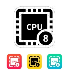 Eight core cpu icon vector