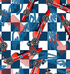 Open wheel racing seamless pattern vector