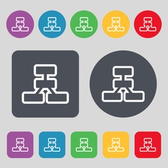 Network icon sign a set of 12 colored buttons flat vector