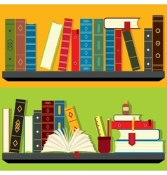 Bookshelf set vector