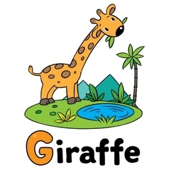 Little funny giraffe for abc alphabet g vector