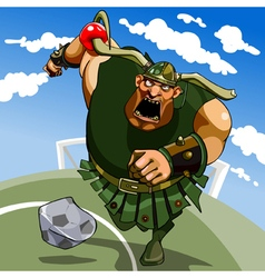 Cartoon hefty viking in a horned helmet playing vector