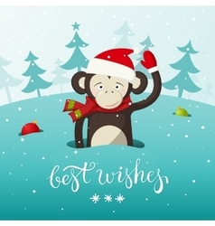 New year card with cute monkey - the symbol of vector