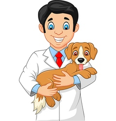 Veterinarian holding small dog vector