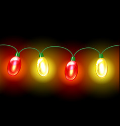 Multicolored lamp festive garland seamless vector