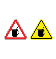 Warning sign attention hot coffee hazard yellow vector