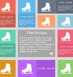 Ice skate icon sign set of multicolored buttons vector