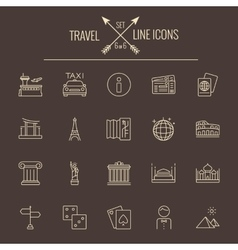 Travel and holiday icon set vector