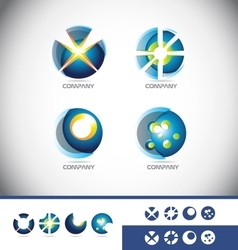 Sphere 3d logo icon set vector image