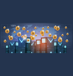 Bitcoin mining farm data center over world map vector