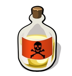 Bottle with label crossbones and yellow substance vector