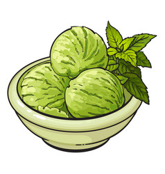 Bowl of matcha green tea ice cream scoops vector