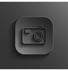 Camera icon - black app button vector image vector image