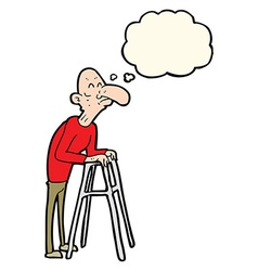 Cartoon old man with walking frame with thought vector