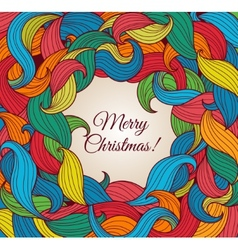 Christmas greeting card with colorful twirls vector