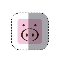 Colorful face sticker of pig face in square frame vector