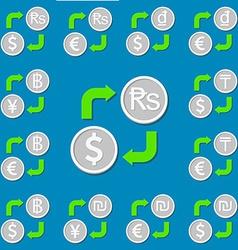 Currency exchange set 3 euro dollar rupee dong vector