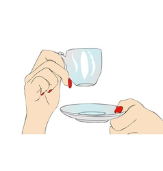 Female hand with cup of coffee vector image vector image