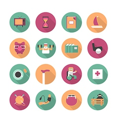 Flat icons of life after retirement vector
