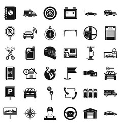 Garage for car icons set simple style vector
