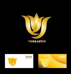 Gold yoga lotus flower vector
