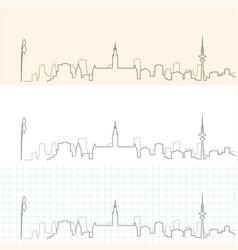 Hamburg hand drawn skyline vector