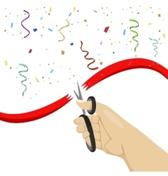 hand cutting red ribbon with scissors vector image vector image