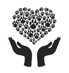 hands hold Heart Paw symbol vector image vector image