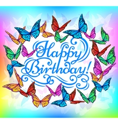 Happy birthday banner bright butterfly vector