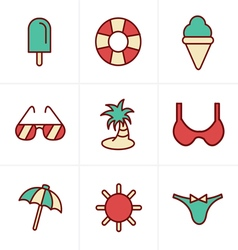 Icons Style Summer Icons Set Design vector image vector image