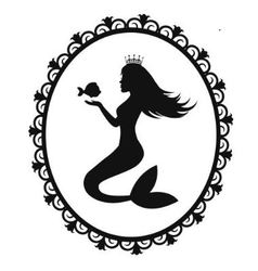 Mermaid and fish in a black frame vector